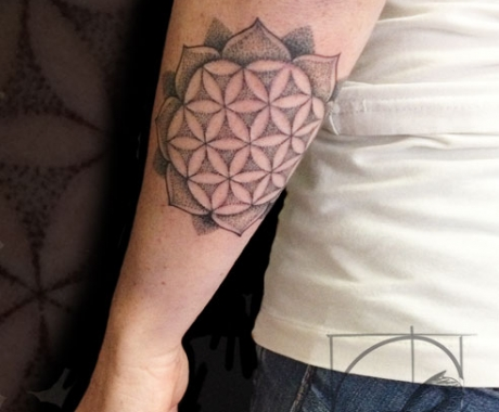 Dotwork Tattoo Arm Mandala